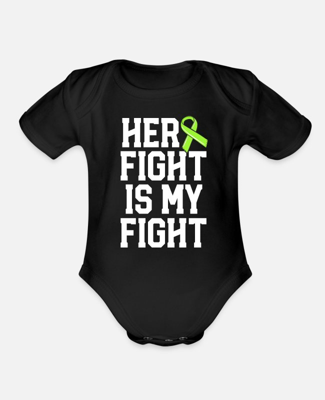 Lyme Baby One Pieces - Her Fight Is My Fight Green Lyme Disease Ribbon - Organic Short-Sleeved Baby Bodysuit black