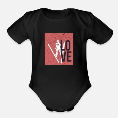 Ski Jumping Love Ski Jump, Ski jumping, ski jump, ski jumpers - Organic Short-Sleeved Baby Bodysuit