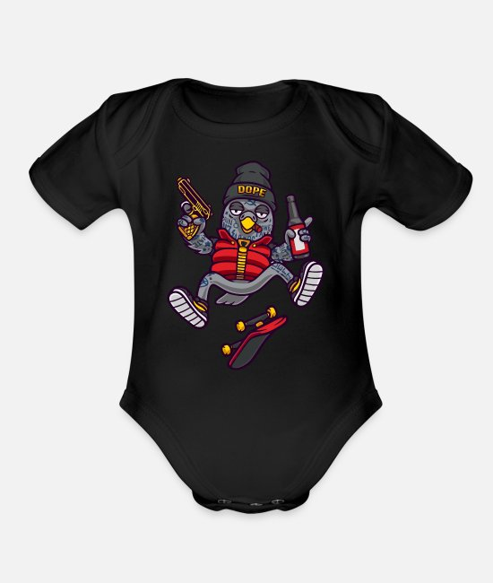 Dope Baby One Pieces - Dope Birds - Organic Short-Sleeved Baby Bodysuit black