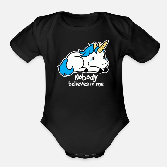 Game Baby Clothing - Sad Unicorn - Organic Short-Sleeved Baby Bodysuit black