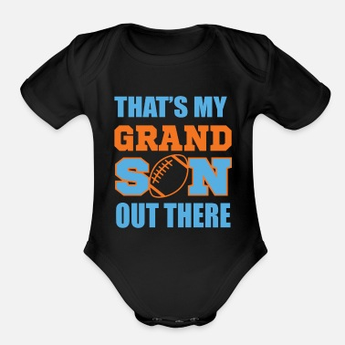 Grandson Football Grandfather, Football, Grandson - Organic Short-Sleeved Baby Bodysuit