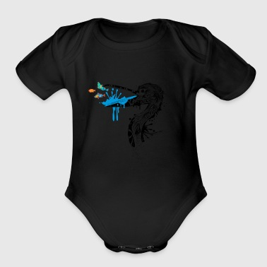 Beak Pelican with fish in its beak - Organic Short Sleeve Baby Bodysuit
