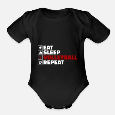 Voleyball Eat Sleep Voleyball Repeat - Organic Short-Sleeved Baby Bodysuit