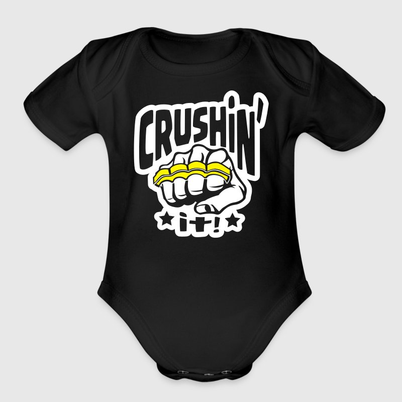 Crushin' it, or Crushing it! Brass Knuckles Style - Organic Short Sleeve Baby Bodysuit
