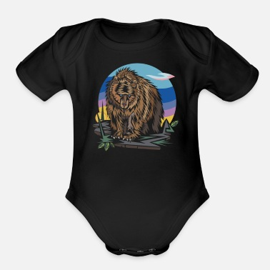 Graphic Polygon Bear Graphic - Organic Short-Sleeved Baby Bodysuit