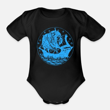 Pirate Ship logo - Organic Short Sleeve Baby Bodysuit