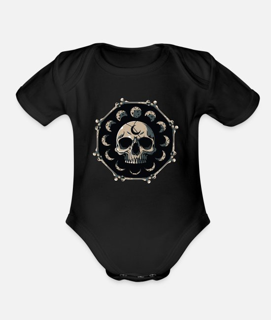 Witchcraft Baby One Pieces - Skull Moon Phases Pastel Goth Gothic Occult Wicca - Organic Short-Sleeved Baby Bodysuit black