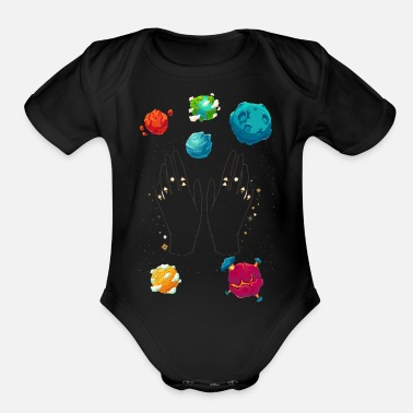 hand of the galaxy - Organic Short-Sleeved Baby Bodysuit