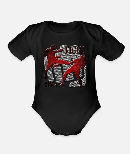 Mma Baby One Pieces - Fight - Organic Short-Sleeved Baby Bodysuit black