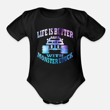 Monster Monster Truck - Organic Short Sleeve Baby Bodysuit