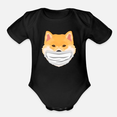 Vector Illustration Shiba Inu dog with respirator - Organic Short-Sleeved Baby Bodysuit