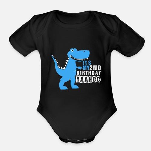 Organic Short Sleeved Baby BodysuitDinosaur Shirt 2nd Birthday Party
