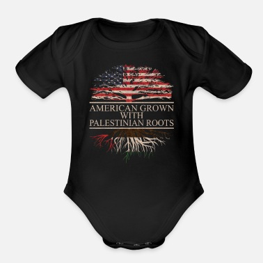 Palestinian american grown with palestinian roots - Organic Short-Sleeved Baby Bodysuit