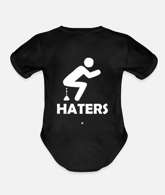 Haters Baby One Pieces - Shitting On Haters - Organic Short-Sleeved Baby Bodysuit black
