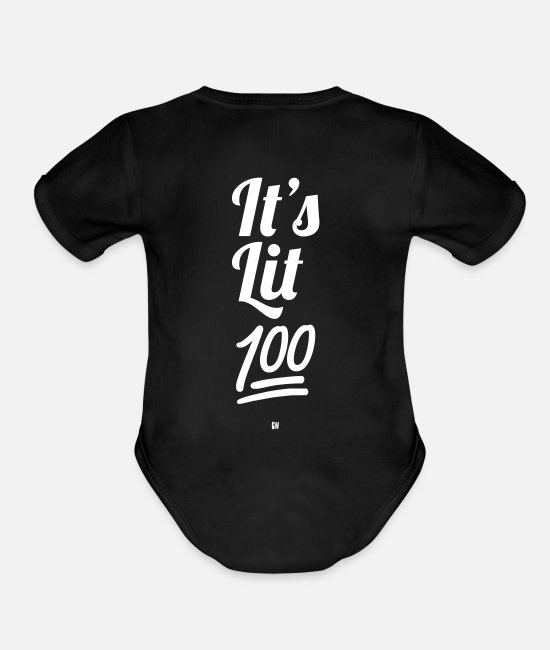 Just Fly Baby One Pieces - It's Lit 100% - Organic Short-Sleeved Baby Bodysuit black