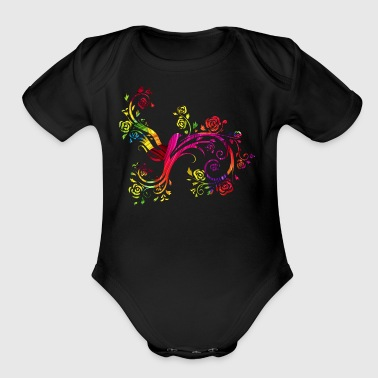 Colorful birds China Style - Short Sleeve Baby Bodysuit
