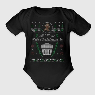 Funny Cup Cake Christmas Ugly Shirt - Short Sleeve Baby Bodysuit