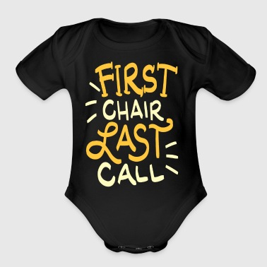First Chair Last Call Skiing Quote Gift - Short Sleeve Baby Bodysuit