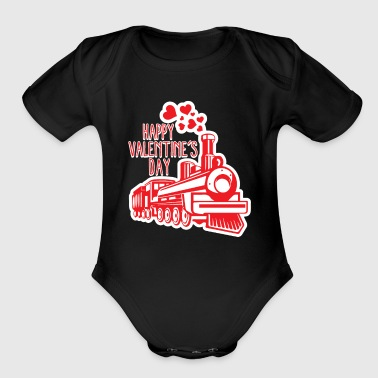 Valentines Day Train Smoke Hearts Romantic Holiday - Organic Short Sleeve Baby Bodysuit