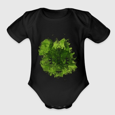 Dragon watercolor gift fantasy animal fly fire - Organic Short Sleeve Baby Bodysuit