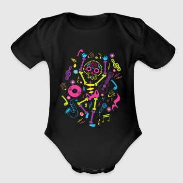 Candy Skull Skeleton Consumed Sugar Now Dancing - Organic Short Sleeve Baby Bodysuit