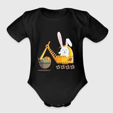 Easter Bunny Excavator with Decorated Eggs - Organic Short Sleeve Baby Bodysuit
