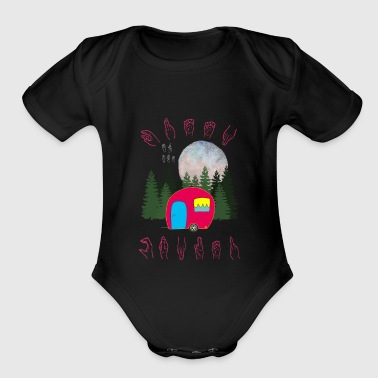 Queen Of The Camper - Camp Camping Sign Language - Organic Short Sleeve Baby Bodysuit
