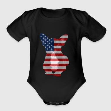 Funny 4th of July Patriotic USA French Bulldog - Organic Short Sleeve Baby Bodysuit