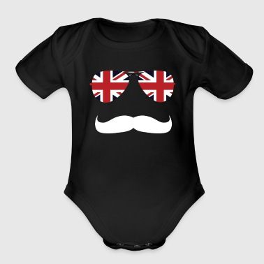 British Flag Sunglasses & Mustache National UK - Organic Short Sleeve Baby Bodysuit