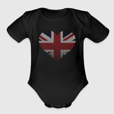British Flag Rhinestuds Heart United Kingdom Union - Organic Short Sleeve Baby Bodysuit