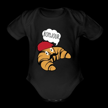 Bonjour Croissant With Mustache And Beret Hat Food - Organic Short Sleeve Baby Bodysuit
