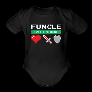 Funcle Level Unlocked Heart Sword Shield Fun Uncle - Organic Short Sleeve Baby Bodysuit
