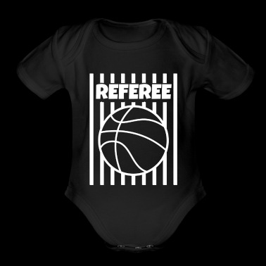 Referee Basketball Ball Gear Outfit Shirt Tshirt WHITE - Organic Short Sleeve Baby Bodysuit