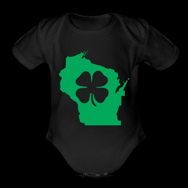 Wisconsin Usa Saint Patricks Day Map - Short Sleeve Baby Bodysuit
