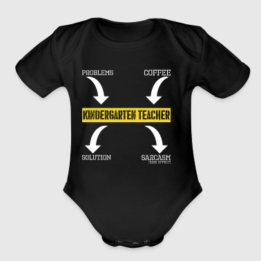 Problems Solution Coffee Sarcasm Kindergarten Teac - Short Sleeve Baby Bodysuit