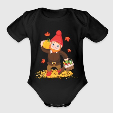 Thanksgiving Garden Gnome - Organic Short Sleeve Baby Bodysuit