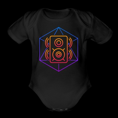 Trippy Psychedelic Speaker Sacred Geometry - Short Sleeve Baby Bodysuit