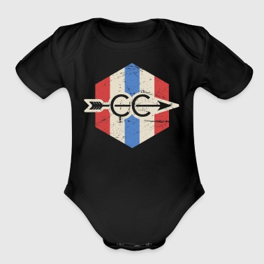 Vintage Patriotic Cross Country Icon - Short Sleeve Baby Bodysuit