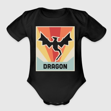 DRAGON | Vintage Style Dragon Poster - Short Sleeve Baby Bodysuit
