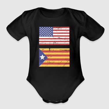 United States Flag & Catalonia Flag - Short Sleeve Baby Bodysuit