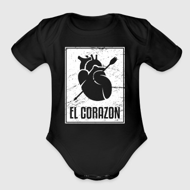 El Corazon | Loteria Mexican Tarot Card - Short Sleeve Baby Bodysuit