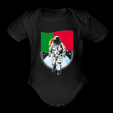 Astronaut moon portugal flag - Short Sleeve Baby Bodysuit