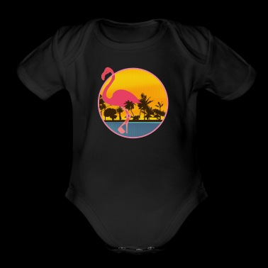 Beautiful beach sunset Flamingo friends Lover Gift - Short Sleeve Baby Bodysuit