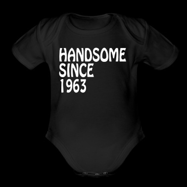 Granddad Birthday Shirt Handsome 1963 Birthay - Organic Short Sleeve Baby Bodysuit