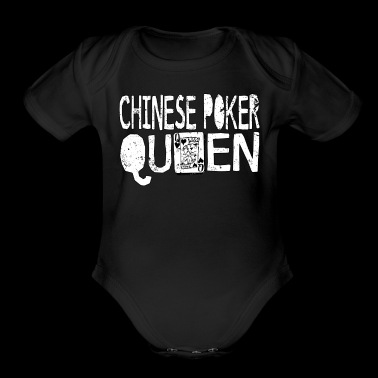 Chinese Card Game Shirt Chinese Poker Queen - Organic Short Sleeve Baby Bodysuit