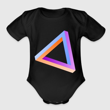 Impossible triangle visual optical illusion - Short Sleeve Baby Bodysuit