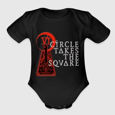 circle takes the square - Short Sleeve Baby Bodysuit