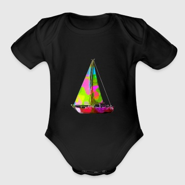 Colorful Sailboat - Short Sleeve Baby Bodysuit