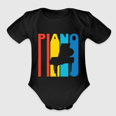 Retro Style Piano Pianist Musician - Short Sleeve Baby Bodysuit