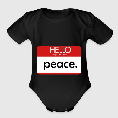 HELLO my name is peace - Short Sleeve Baby Bodysuit